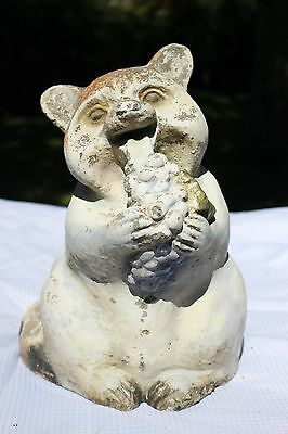 """Large 14"""" Tall Chubby Old Raccoon Vintage Cement Concrete Garden Animal Statue"""