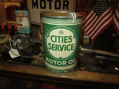Early Original Cities Service Motor Oil One Quart Can Metal