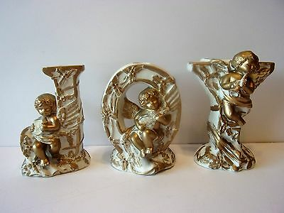 "3 Vintage  Christmas  ""j O Y""  Candle Holders With Cherubs"