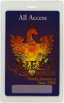 Queen authentic 2006 tour Laminated Backstage Pass