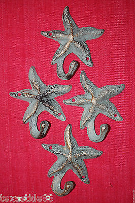 (4) Bronze Look, Starfish, Wall Hooks, Sea Life,wife Gift,gift For The Wife,n-24