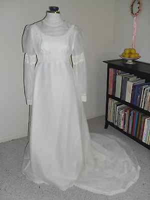 Vintage Handmade Juliet style 70's WEDDING Dress GOWN Estimated Size 4