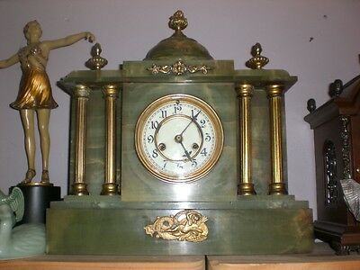 Attractive Art Deco  Green Marble Clock With Brass Deco
