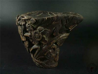Antique Old Chinese Eaglewood Carved Brush Pot Statue BUTTERFLY & FLOWERS
