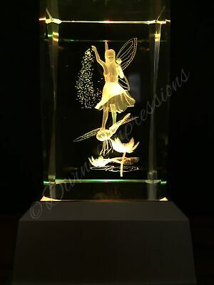 Fairy On Dragonfly 3D Laser Crystal With Led Colour Change Base Night Light 201