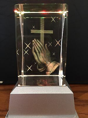 Cross & Hands Religious 3D Laser Crystal With Led Colour Change Base Night Light