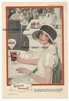 Vintage 1924 Coca Cola AD Refresh Yourself at Soda Fountain Coke Advertising