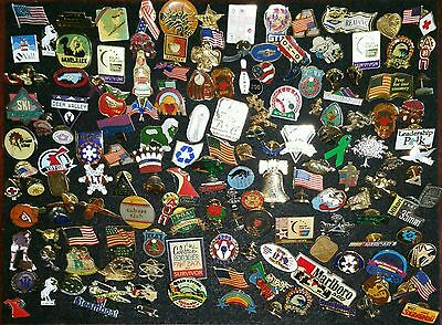 Vintage Now 160 Lapel Pin Lot Hat Mixed Lot 1 Lbs + Flags Sports Enamel Police