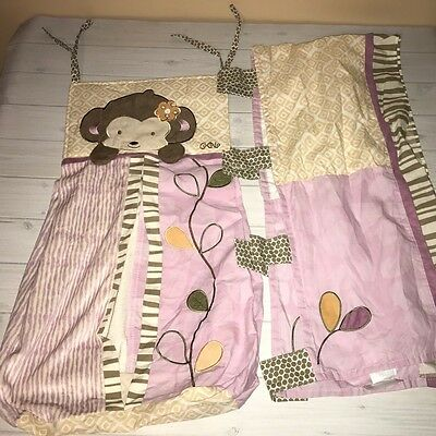 CoCaLo Baby Girls Jacana Monkey Valence & Diaper Stacker Nursery Decor