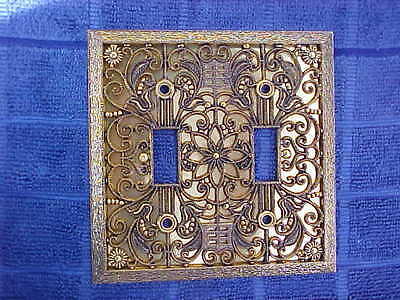Brass Light Switch Wall Plate Cover Double Gang Toggle Ornate Filligree Vtg