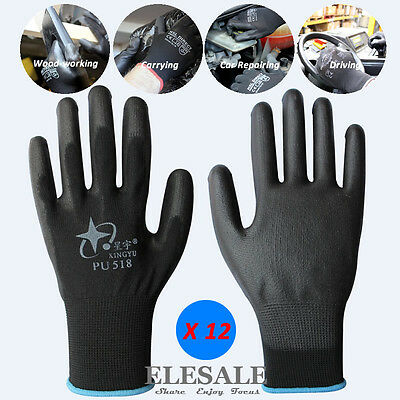 12 Pairs Work Gloves With PU Coated For Builder Driver Gardening Mechanic Safety