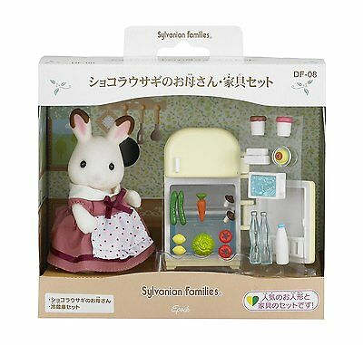 Calico Critters Sylvanian Families CHOCOLATE RABBIT MOTHER AND FRIDGE SET Epoch