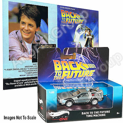 Original Back to Future 1985 Flyer + Hot Wheels Elite One DeLorean Time Machine