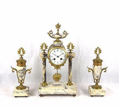 19th Century French Portico Marble and Gilt Mantle Clock Japy Freres