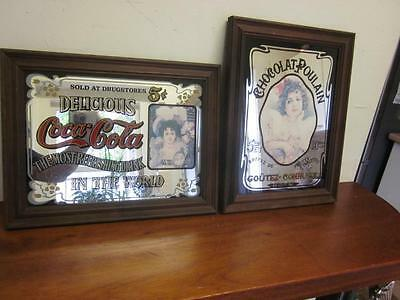 Pair Small Picture Mirrors Vintage Advertising Coca Cola & Choclat Poulain