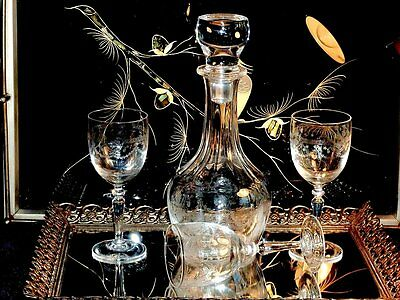 Magnificent Victorian Crystal Hand Etched Decanter & 3 Glasses