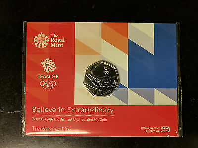 BRILLIANT UNCIRCULATED TeamGB Rio Olympic Swimming 50p Fifty Pence Coin IN CARD