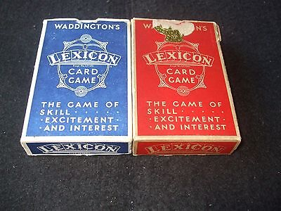 "2 x Vintage Boxed Waddington ""Lexicon"" Playing Card Decks"