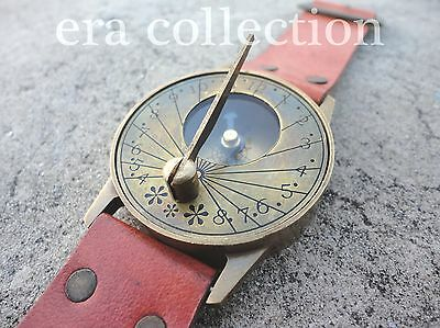 Vintage Style Nautical Brass Sundial Compass~Marine Wrist Watch W/Leather Strap