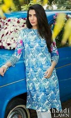 pakistani designer Khaadi orignal lawn 2 pc embroidered small blue green white