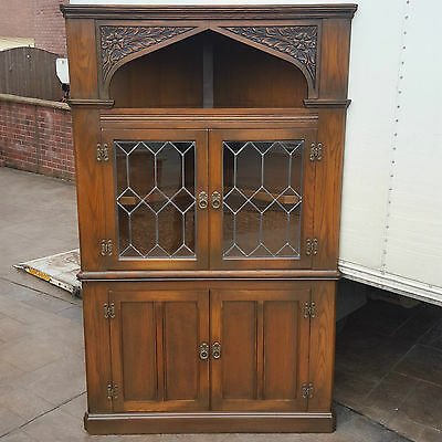 Old Charm Large Oak Linenfold Leaded Light Corner Cabinet