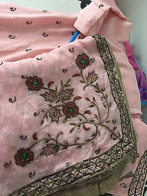 Baby Pink Heavy Embroidered Pajami Kameez Suit Heavy Dupatta Indian Traditional