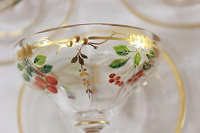Magnificent Hand Blown Crystal, Gilt Decorated Sorbet Cups with Under Plates (6)