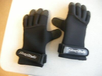 Deep See SEA Style  5mm Cold Water Kevlar Glove Nice Used. Scuba Large