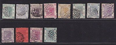 Hong Kong China 1860s-80s QV Used Stamps with Various B62 Pmks Good Examples