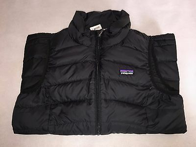 Patagonia Quilted Girls Large Black Gilet Body Warmer Jacket With Zip- Brand New