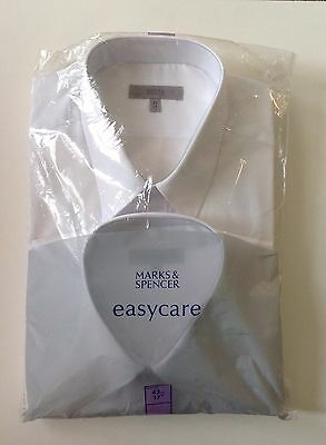 "NEW 2 PACK MARKS & SPENCER EASYCARE WHITE LONG SLEEVED SHIRTS - 17"" Collar"