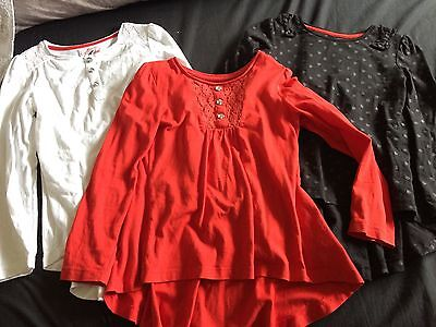Girls 3x Long Sleeved Tops, Red, White And Black 7yrs