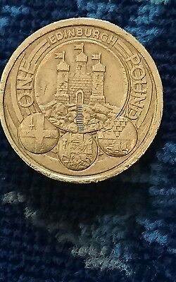 Edinburgh £1, one pound coin - the rarest of the capital cities coins circulated