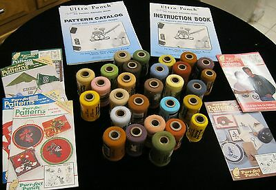Lot Of Vintage Purr-Fect Punch Yarn (28) And Patterns (6)  Perfect Ultra Punch