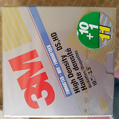 "3M DS HD High Density 3.5"" Floppy Disks Unopened Box of 10 BNIB"