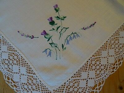 Vintage Linen and Bobbin Lace Embroidered Tablecloth 97cm Square Thistle