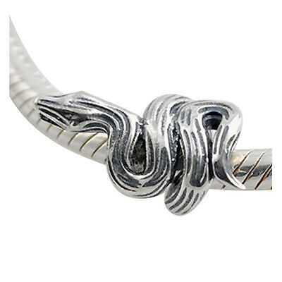 VIPER - Snake - Serpent - Solid 925 sterling silver European charm bead
