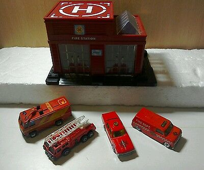 toy cars, with fire station,