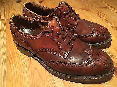 Mens Vintage Brown Oxblood Trickers  Brogues Shoes Size 8