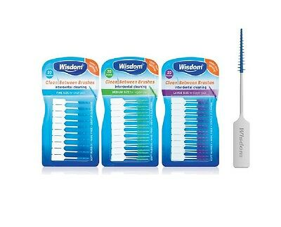 Wisdom Clean Between Interdental Brushes Wire Free - Pack of 20-3 Sizes S/M/L