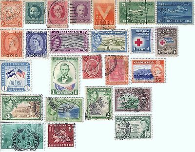 25 different older used stamps from various countries in the Caribbean