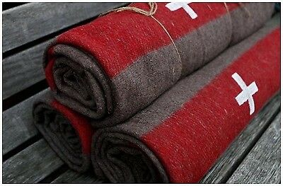 SWISS ARMY WOOL BLANKET MILITARY Surplus White Cross Red Stripe Survival Camp ~~