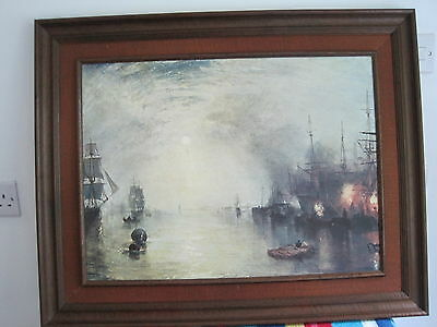 """Large Nautical framed picture print Galleon battleships at battle 31"""" x 25"""""""