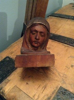 Vintage Antique Wooden Carved Head Of The Virgin Mary