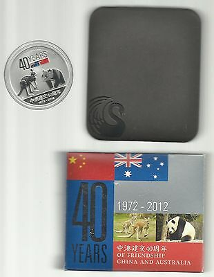 2012 1$ China & Australia 40 Years of Friendship 1 Oz .999 Silver Coin PROOF