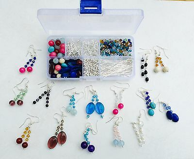 JEWELLERY MAKING KIT MAKES 30 PAIRS REAL GEMSTONE EARRINGS with CRYSTAL BEADS