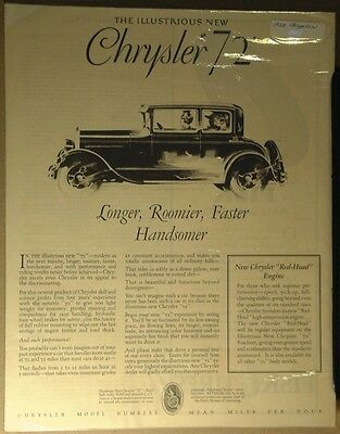 1928 Chrysler 72 Ad 52  62 72 New Red Head Engine