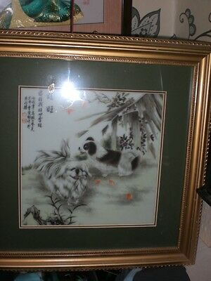 Large Vintage Chinese Porculin Hand Painted  Framed Plaque