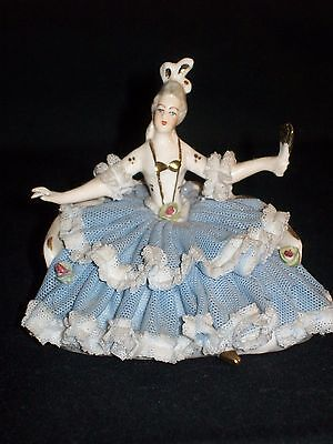 Antique German Porcelain Dresden Lace Seated Victorian Lady Figurine Figure