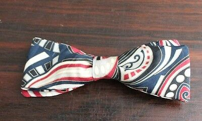 Vintage Fabric  Classic 1950s  Style Navy Red Black Silk Bow Tie  Mid Century